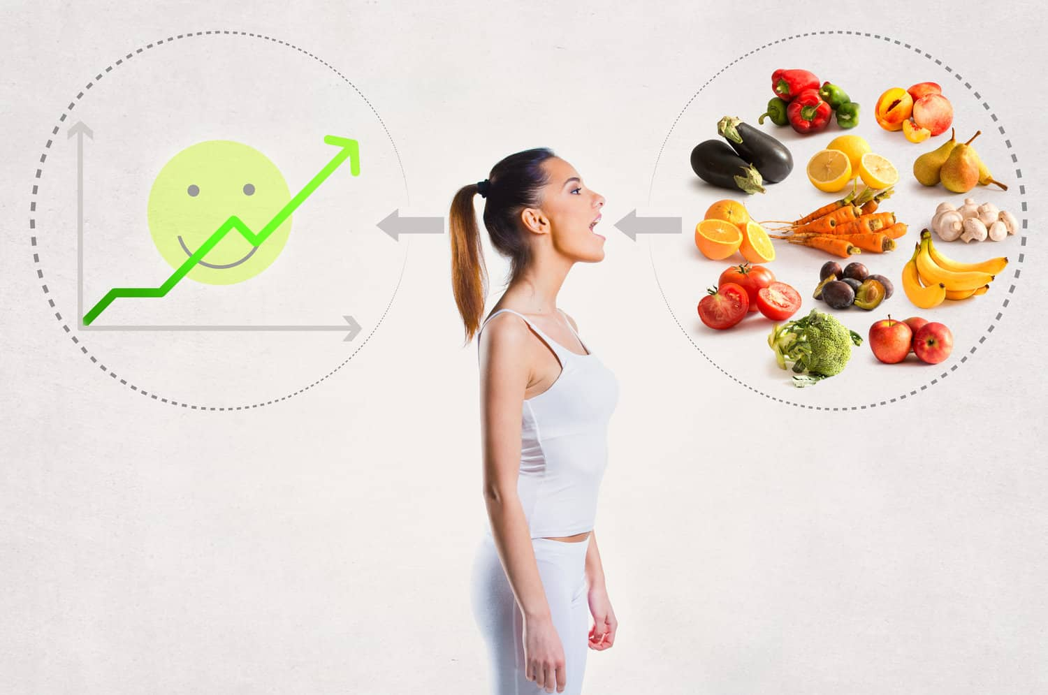 Woman and graphics showing what you should eat